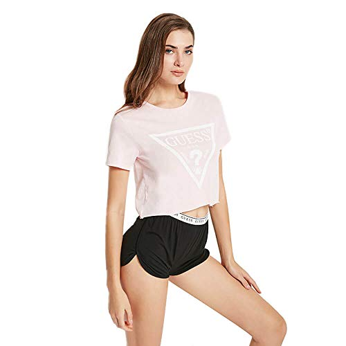 Guess Damen T-Shirt, bauchfrei - Crop-Top, Logo-Print, Rundhals, Kurzarm, Baumwolle (rosa, S (Small))