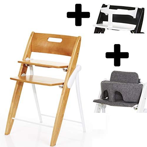 ABC Design Hopper Kinderhochstuhl 3 in 1 Set Treppenhsochstuhl aus Holz Klappbar (Natur, Track)