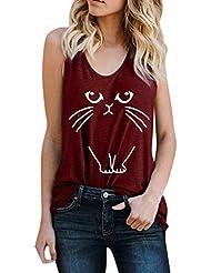 Auifor◕‿◕Chaleco con Letras para Mujer Sin Mangas Crop Suelto Top Camiseta con Estampado de Gato Blusa Superior