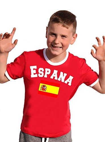 Coole-Fun-T-Shirts Spanien T-Shirt Kinder Ringer Rot, 152