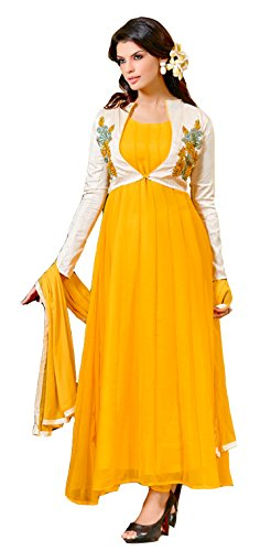 Clickedia Women's Heavy Georgette Semi-stitched Yellow White Floor Length Anarkali Suit - Dress Material  available at amazon for Rs.499