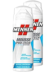 Mennen - Mousse à Raser Homme Pro-Tech Système Hypoallergénique pour Peaux Fragiles - 250 ml - Lot de 2