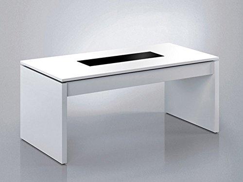 PEGANE Table Basse à Plateau relevable Blanche 43 x 102 x 50 cm