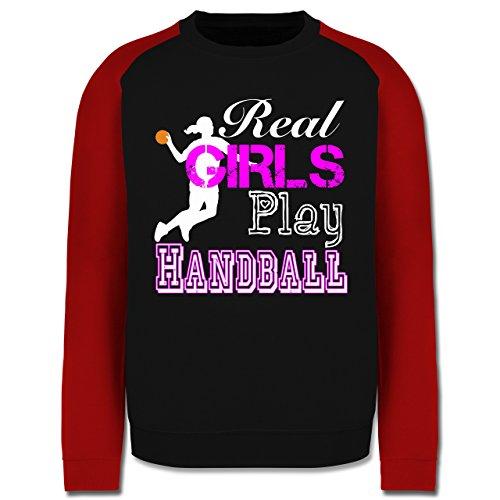 Handball - Real Girls Play Handball weiß - Herren Baseball Pullover Schwarz/Rot