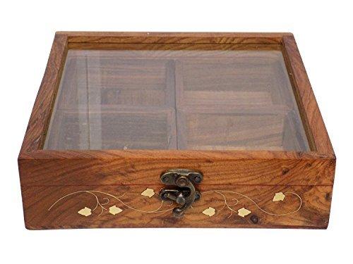 Stylla London Craftsman Drap de dessus à nourriture/boîte à épices avec cuillère, bois, marron, 8.66 x 8.46 x 2.76 cm