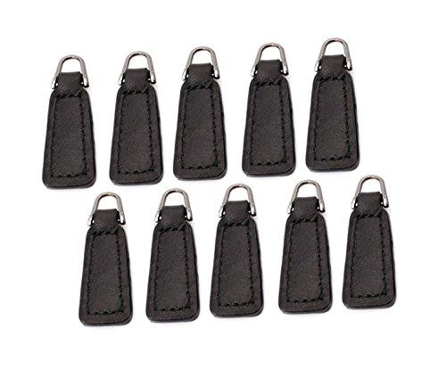 Ziehen Leder Stiefel (Menba Leder-Reißverschluss für Stiefel, Jacke, Tasche, Geldbeutel, Ersatz und Produktion, Schwarz, 10 Stück)