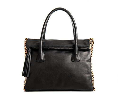 Valentina - Tasche Frau in schwarzem Leder Schultern mit Hüften getupft - animalier - Passionebags - made in Italy (Tasche Schwarze Leder Prada)