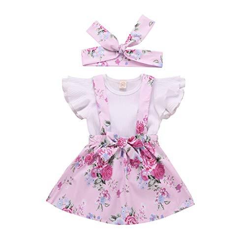 BeautyTop Kleidung Set Baby Mädchen Kleinkind Baby Toddler Kinder kurzärmeligen 2 Stück Kleidungsset Kind Baby Kurzarm Spielanzug + Riemen Rock Zweiteiliger Anzug Prinzessin Kleid (Rosa, 6-12 Months)