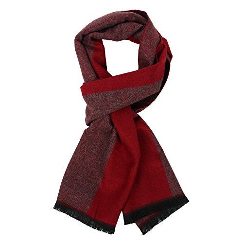 Herren Herbst Baumwolle kariert Schal- Winter Jungen Warm Lange Scarf mit Luxuriöse eschenkbox(Rot)
