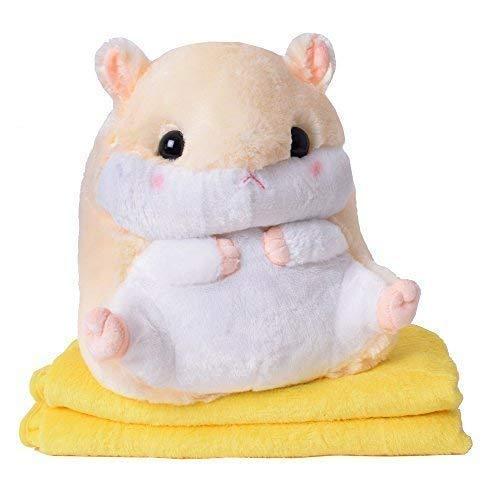 TE-Trend 2in1 Baby Kinder Plüschtier Hamster 40cm mit Fleecedecke im Bauch des Kuscheltieres in Gelb