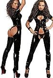 gsaknc Fever Damen schwarz sexy Latex Catsuit im Schritt Offen Chic Body Frauen Wet Look Clubwear Sexy Dessous Fetisch Erotic Fancy Kleid