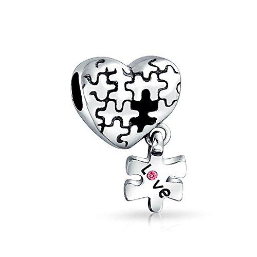 Bling Jewelry Autismo Conciencia Pieza del Puzzle corazón Amor Encanto Cordón Pulsera de Plata esterlina