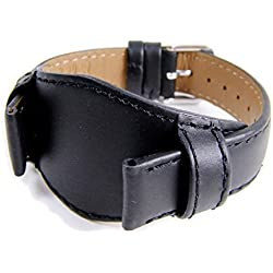 Eulit Replacement Band Watch Band Leather Strap with Underlay black leather in extra long XL 828_10S, width:18mm