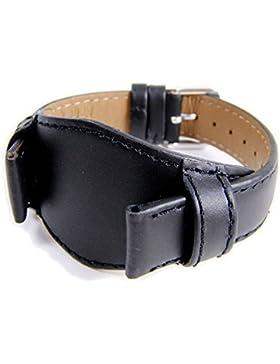 Eulit Ersatzband Uhrenarmband Leder Band mit Unterlage Schwarz in Überlänge XL 828_10S, Stegbreite:20mm