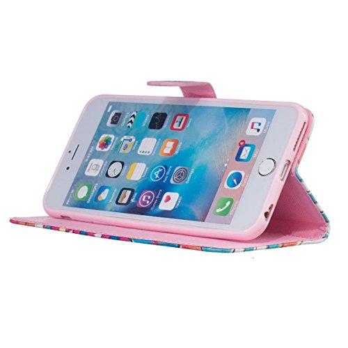 Coque iPhone 6s Plus, Étui en cuir pour iPhone 6 Plus, Lifetrut [Printed Patterns] Colorful Design Flip Portefeuille Case Couverture avec sangles pour iPhone 6s Plus/6 Plus [Vertige] E202-Vertige