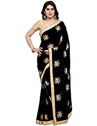 Styles Closet Women's Chiffon Saree With Blouse Piece (Bnd-8742_Black)