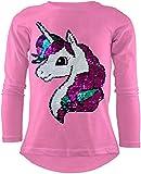 Unicorn Einhorn Mädchen Langarm Baumwolle Wendepailletten T-Shirt Bluse Long Shirt Pullover Pulli (122-128, Rosa)