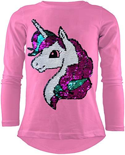 Unicorn Einhorn Mädchen Langarm Baumwolle Wendepailletten T-Shirt Bluse Long Shirt Pullover Pulli (104-110, Rosa)