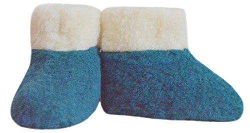 SamWo,Fußwärmer Hausschuhe aus 100% Schafwolle, Größe: 35-48 azur/natur