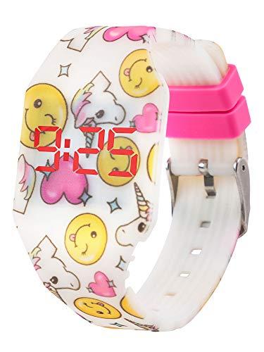 Reloj LED Digital Chica se Ilumina en la Oscuridad, Infantil y Joven, de Pulsera, Correa de Suave Silicona, Trendy Regalo, Unicornio Emojis, Kiddus KI10217