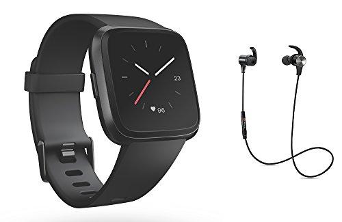 Preisvergleich Produktbild Fitbit Versa Health & Fitness Smartwatch,  Schwarz / Aluminium-Schwarz / black / silver-black ,  One Size,  inklusive Bluetooth Headset
