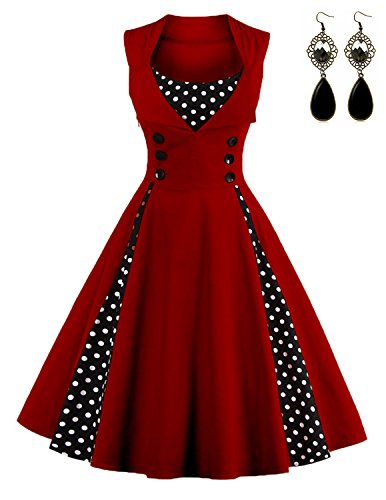 Sitengle Donna Retrò 1950s Vestiti a Pois Vintage Giuntura Vestito  Rockabilly Abiti da Sera Cerimonia Tutu