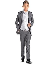 Paisley of London, En Gris Niño Traje, Corte Ajustado traje, Diamante Chaleco & Corbata, 12-18m - 13 años