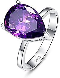 224e368fe Bonlavie Women's 8.8ct Teardrop Pear Cut Created Purple Amethyst Engagement  Wedding Ring Sterling Silver