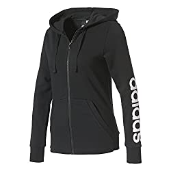 Adidas Damen Essentials Linear Sweatshirtjacke, Schwarz (Blackwhite), S