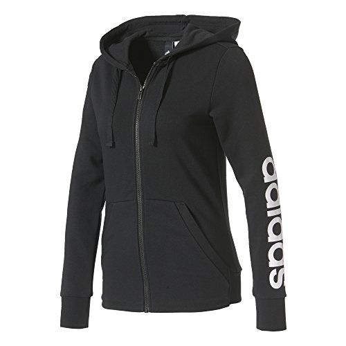 adidas Damen Ess Lin Fz Hd Sweatjacke, Black/White, L