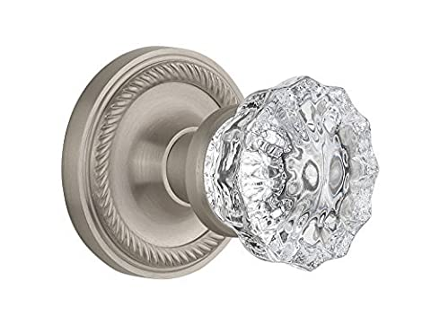 Nostalgic Warehouse BN40-ROPCRY-SN Rope Rosette with Crystal Knob Privacy, Satin Nickel by Nostalgic Warehouse