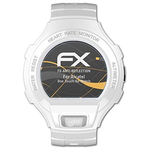 atFoliX Panzerfolie kompatibel mit Alcatel One Touch Go Watch Schutzfolie, entspiegelnde & stoßdämpfende FX Folie (3X)