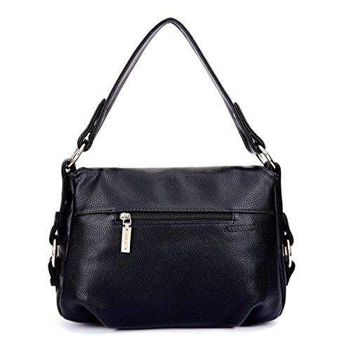 Schräge Tasche Schultertasche Handtasche Ledertasche Frauen Black