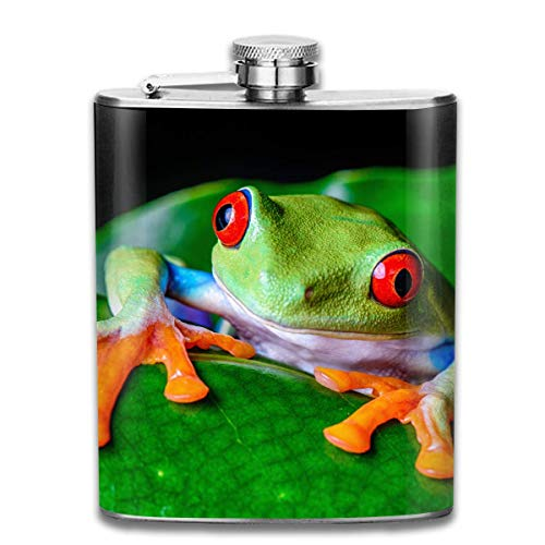 Red-Eyed Tree Frog Green Leaf Fashion Portable Stainless Steel Hip Flask Whiskey Bottle for Men and Women 7 Oz -