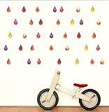 Wandaufkleber DIY Bunte Regentropfen Wandaufkleber Regen Wassertropfen Baby Bett Zimmer Hängen Dekor Wandtattoos Kinderzimmer Poster Mural30X42CmWeihnachten