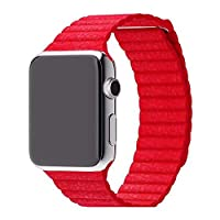 Leather Adjustable Magnetic Closure Wrist Loop Band Strape for 42mm Apple Watch,RED