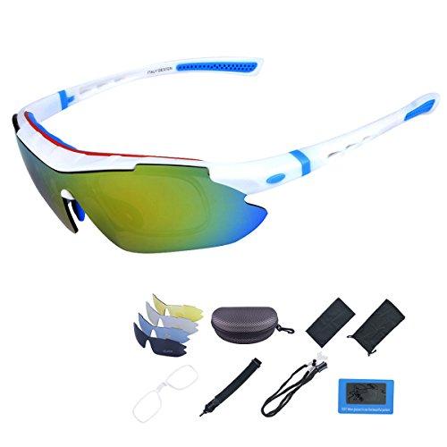 ShareWe Sportbrille Polarisierte Sonnenbrille Unisex Radbrille UV-Schutz Fahrradbrille mit 4 Wechselgläser für Radfahren Fahren Golf Baseball Volleyball Fischen (Weiß + Blau)