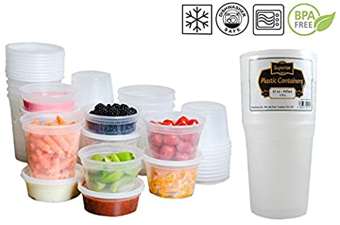 [6 PACK] Plastic Microwave Freezer Safe Round Leakproof Food containers And Lids Ideal for Batch cooking ready meals (32oz - 950ml)
