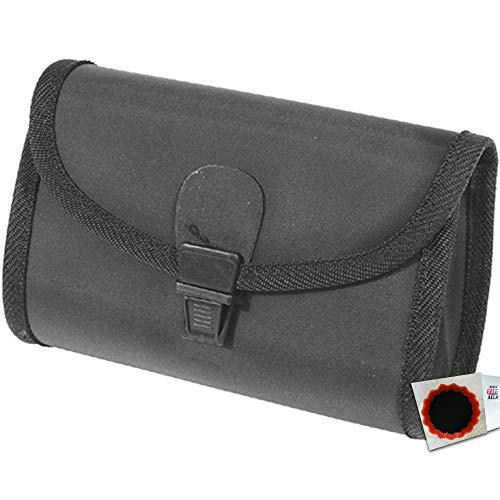 New Looxs Satteltasche Nylon+Schnappverschluss, 180mm schwarz+Flicken