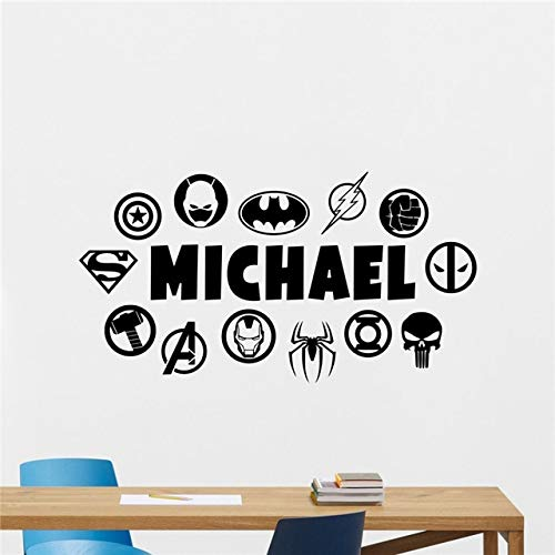 Superhelden Wandtattoo Benutzerdefinierte Name DC Marvel Logo Comics Vinyl Aufkleber Wanddekor Teen Boy Zimmer Schlafzimmer Wandaufkleber 58 * 110 cm
