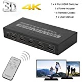 SPIN CART 4 Port HDMI Switcher With Remote Controller UHD 2K 4K Support, Full HD 1080P, 3D, Switch Splitter With Remote Control, HD Audio For Nintendo Switch, Xbox One, Roku 3, HD TV XBox PS3 PS4, 4 In 1 Out, Latest Model 1 Year Warranty