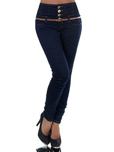 N207 Damen Jeans Hose Corsage Damenjeans High Waist Röhrenjeans Hochbund, Farben:Blau, Größen:38 (M)