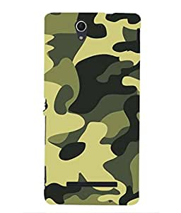 For Sony Xperia C3 -Livingfill- Fashionable camouflage pattern Printed Designer Slim Light Weight Cover Case For Sony Xperia C3 (A Beautiful One of the Best Design with a Classic Theme & A Stylish, Trendy and Premium Appeal/Quality) (Red & Green & Black & Yellow & Other)