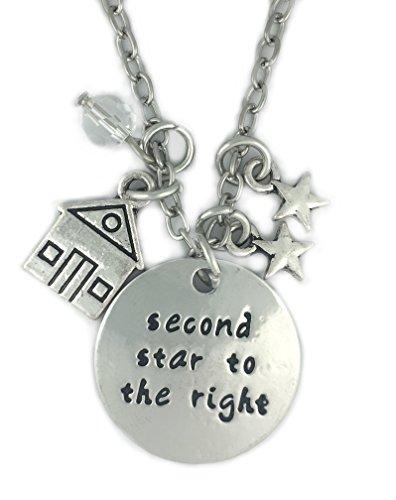 tono-plateado-segunda-estrella-a-la-derecha-en-ingles-collar-grabado-colgante-22cm-diametro-con-cade