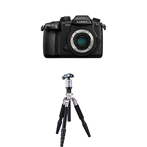Panasonic Lumix DC-GH5EG-K Systemkamera (20 Megapixel, DUAL IS Bildstabilisator, 4K60p Videoaufname, 4K & 6K Serienbilder, Hybrid Kontrast AF, wetterfestes Magnesiumgehäuse) Gehäuse Schwarz+Rollei Fotopro Compact Traveller No. 1 Titanium