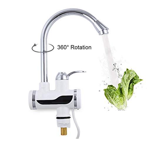 PARAMITA Schnelle Elektrische Warmwasserbereiter LED Temperaturanzeige Heizung Wasserhahn für Küche und Bad (Mit Duschkopf-2)