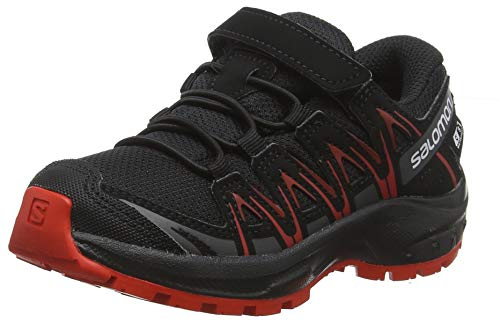 Salomon Kinder XA Pro 3D CSWP J, Trailrunning-Schuhe, Wasserdicht, schwarz (black / black / high risk red), Größe 28