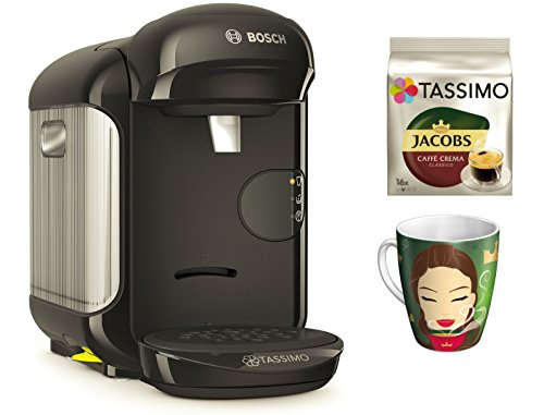 Bosch TASSIMO Vivy 2 Bundle + Ritzenhoff Sammelbecher 14. Edition + TDisc Caffe Crema classico (Schwarz)