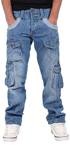 peviani-mens-boys-cargo-combat-star-jeans-time-is-hip-hop-money-stonewash-blue-w30-l33