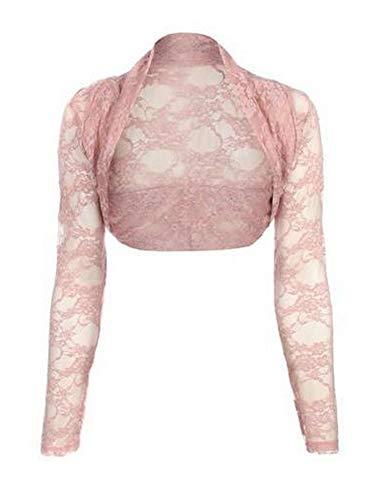 krautwear Damen Bolero Langarm Stola Bolerojacke Hochzeit Festlich Spitze schwarz weiß rot beige blau pink (rosa)